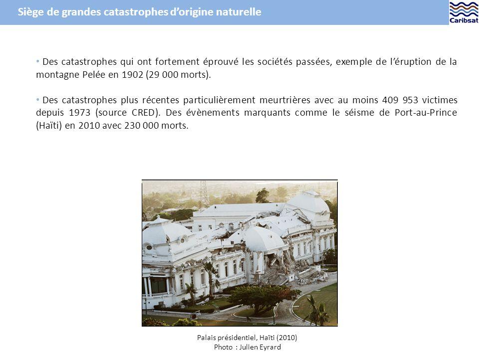 Des catastrophes qui ont fortement éprouvé les sociétés passées, exemple de léruption de la montagne Pelée en 1902 (29 000 morts).