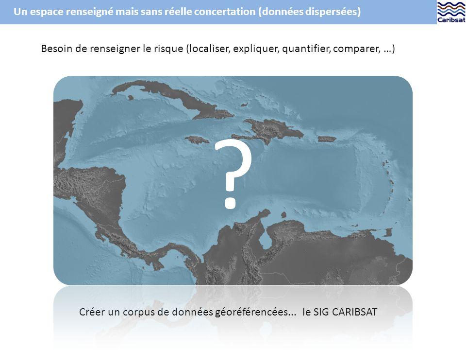 Ex. de carte de latlas CARIBSAT : laléa sismique (PGA)