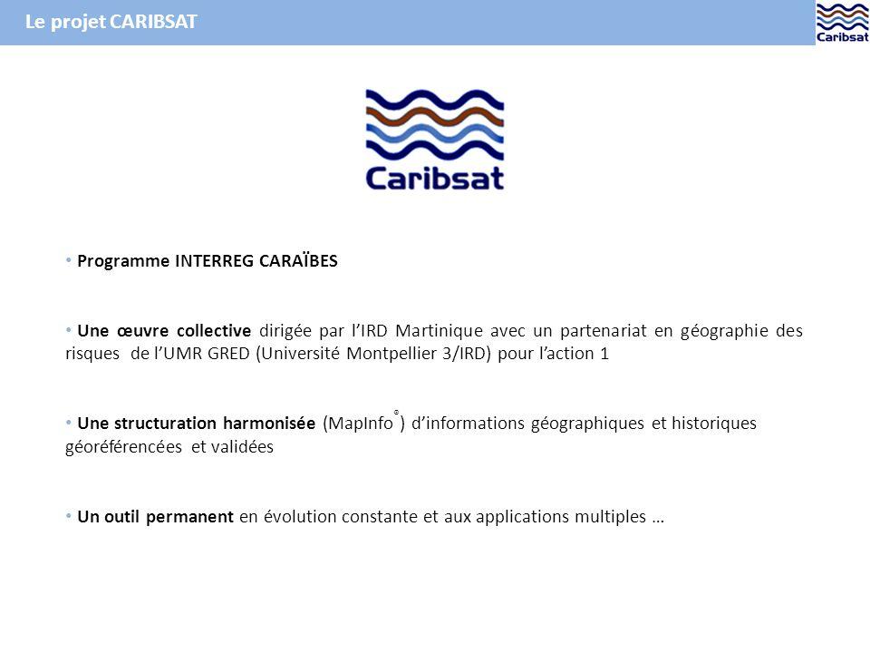 Ex. de carte de latlas CARIBSAT : les victimes de catastrophes naturelles depuis 1973