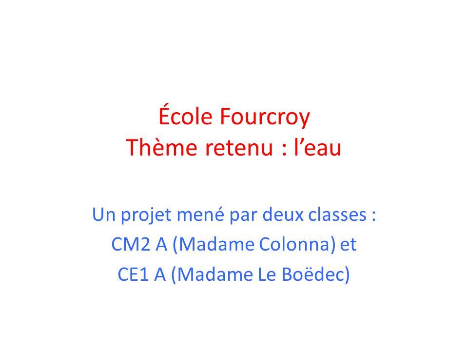 École Fourcroy Thème retenu : leau Un projet mené par deux classes : CM2 A (Madame Colonna) et CE1 A (Madame Le Boëdec)