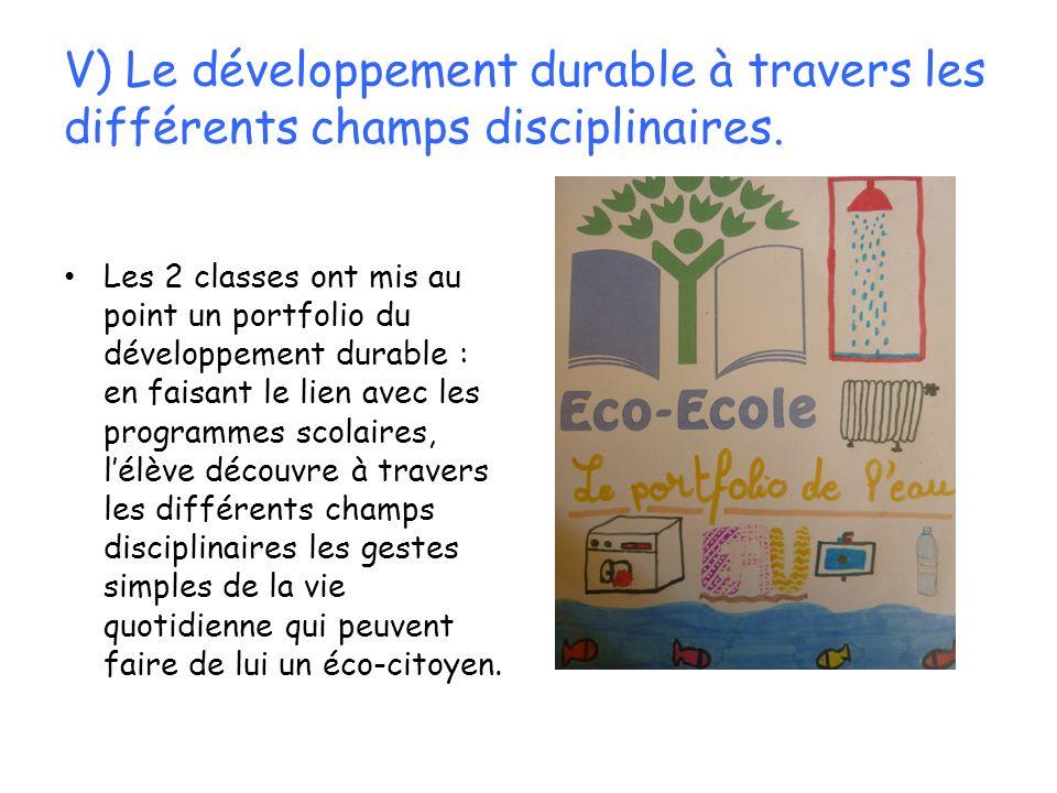 V) Le développement durable à travers les différents champs disciplinaires. Les 2 classes ont mis au point un portfolio du développement durable : en