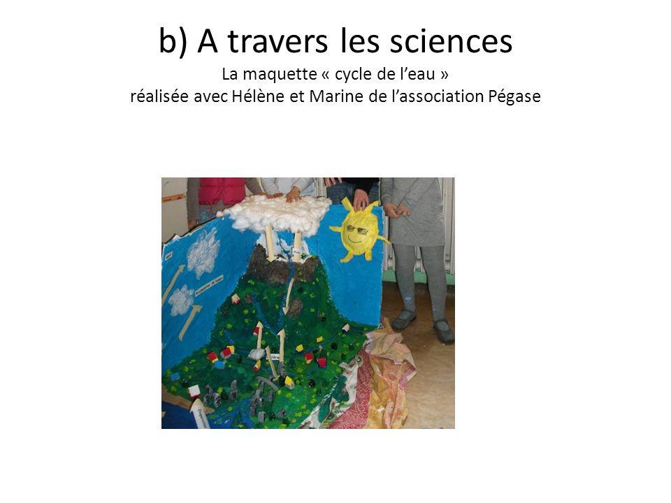 b) A travers les sciences La maquette « cycle de leau » réalisée avec Hélène et Marine de lassociation Pégase