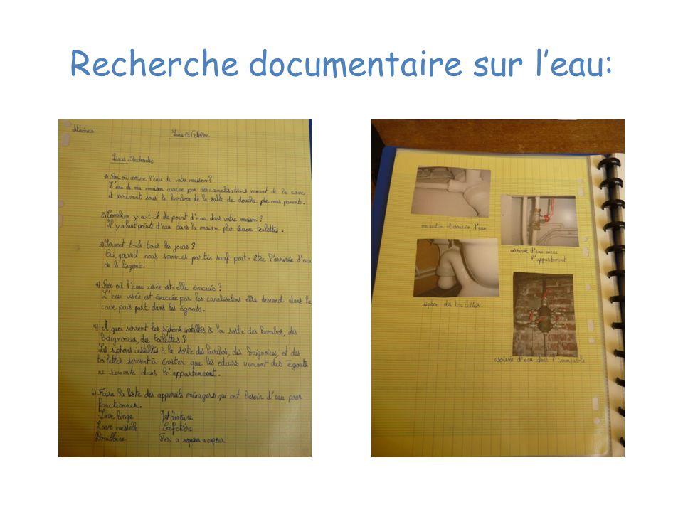 Recherche documentaire sur leau: