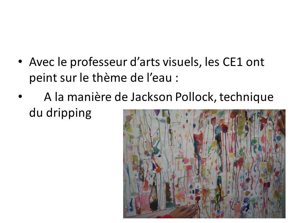 Avec le professeur darts visuels, les CE1 ont peint sur le thème de leau : A la manière de Jackson Pollock, technique du dripping