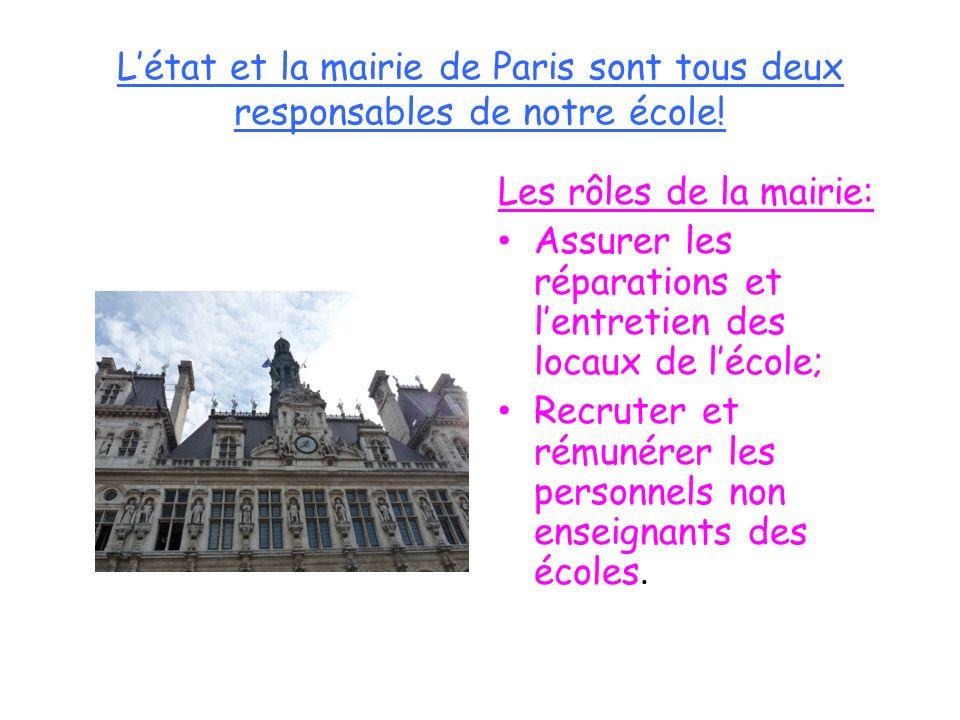 Létat et la mairie de Paris sont tous deux responsables de notre école! Les rôles de la mairie: Assurer les réparations et lentretien des locaux de lé