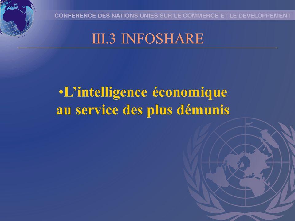 III.3 INFOSHARE Lintelligence économique au service des plus démunis