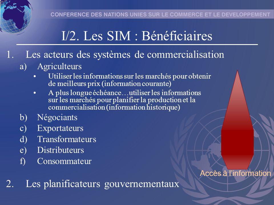 I/2. Les SIM : Bénéficiaires 1.Les acteurs des systèmes de commercialisation a)Agriculteurs Utiliser les informations sur les marchés pour obtenir de