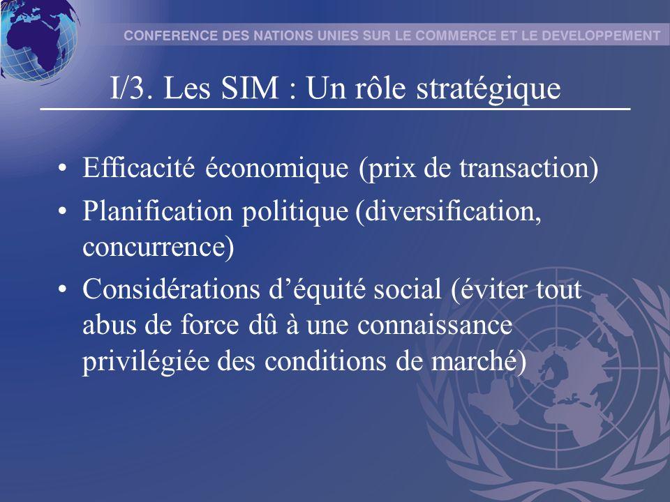 I/3. Les SIM : Un rôle stratégique Efficacité économique (prix de transaction) Planification politique (diversification, concurrence) Considérations d