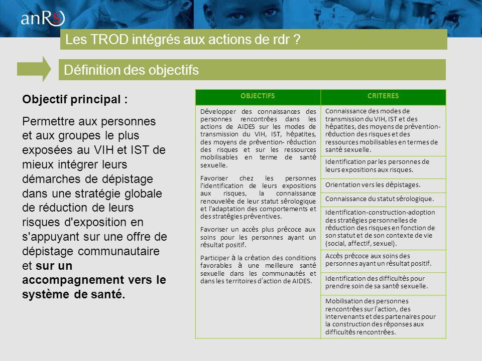 18 Les TROD intégrés aux actions de rdr .