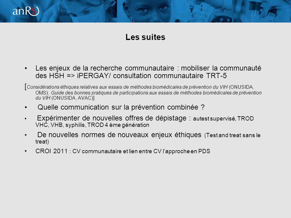 20 Les suites Les enjeux de la recherche communautaire : mobiliser la communauté des HSH => iPERGAY/ consultation communautaire TRT-5 [ Considérations éthiques relatives aux essais de méthodes biomédicales de prévention du VIH (ONUSIDA, OMS), Guide des bonnes pratiques de participations aux essais de méthodes biomédicales de prévention du VIH (ONUSIDA, AVAC)] Quelle communication sur la prévention combinée .