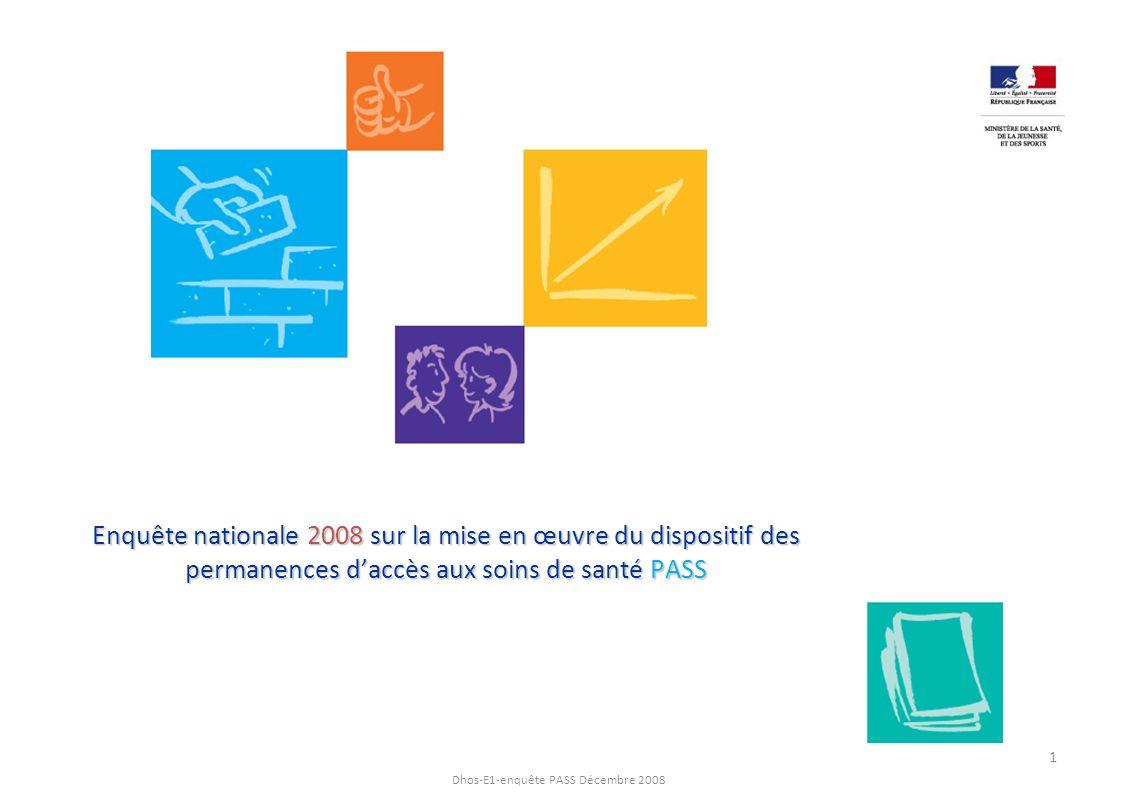 Dhos-E1-enquête PASS Décembre 2008 Enquête nationale 2008 sur la mise en œuvre du dispositif des permanences daccès aux soins de santé PASS 1