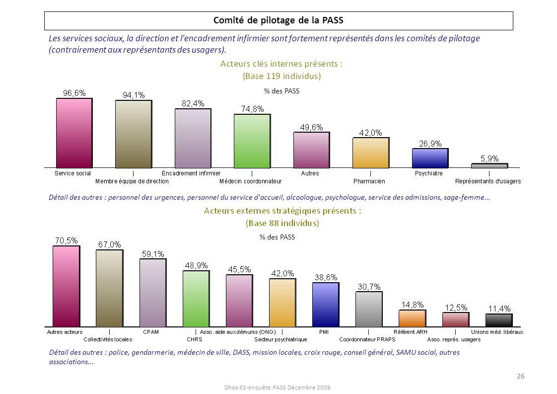 Dhos-E1-enquête PASS Décembre 2008 Comité de pilotage de la PASS Les services sociaux, la direction et l'encadrement infirmier sont fortement représen