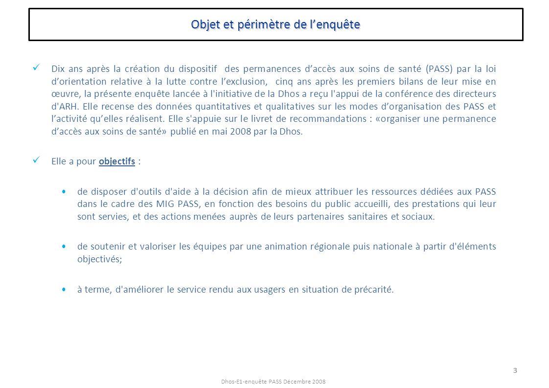 Dhos-E1-enquête PASS Décembre 2008 3 Objet et périmètre de lenquête Dix ans après la création du dispositif des permanences daccès aux soins de santé