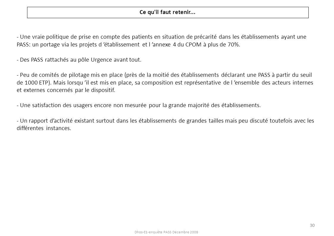 Dhos-E1-enquête PASS Décembre 2008 Ce qu'il faut retenir... - Une vraie politique de prise en compte des patients en situation de précarité dans les é