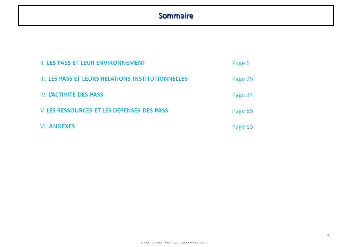 Dhos-E1-enquête PASS Décembre 2008 5 Sommaire 5 II. LES PASS ET LEUR ENVIRONNEMENT III. LES PASS ET LEURS RELATIONS INSTITUTIONNELLES IV. LACTIVITE DE