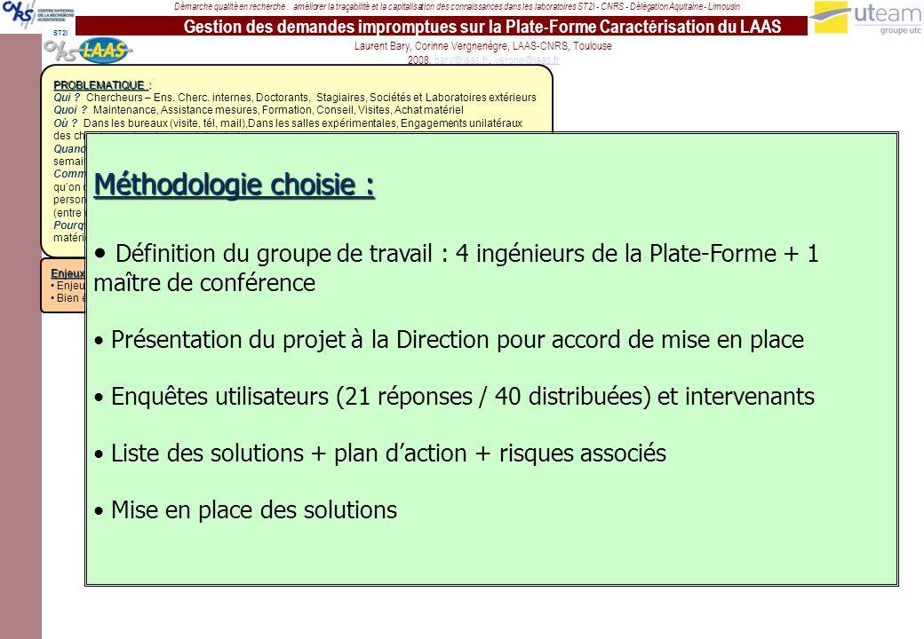 Gestion des demandes impromptues sur la Plate-Forme Caractérisation du LAAS Démarche qualité en recherche : améliorer la traçabilité et la capitalisation des connaissances dans les laboratoires ST2I - CNRS - Délégation Aquitaine - Limousin Laurent Bary, Corinne Vergnenègre, LAAS-CNRS, Toulouse 2008, bary@laas.fr, vergne@laas.frbary@laas.frvergne@laas.fr ST2I PROBLEMATIQUE : Qui .