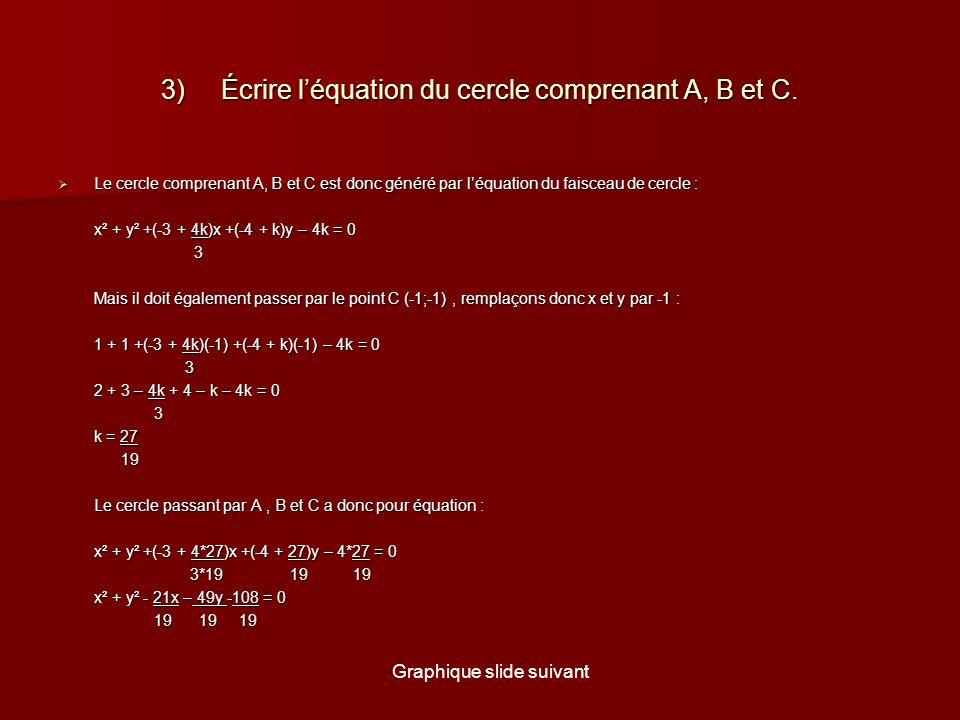 3) Écrire léquation du cercle comprenant A, B et C.