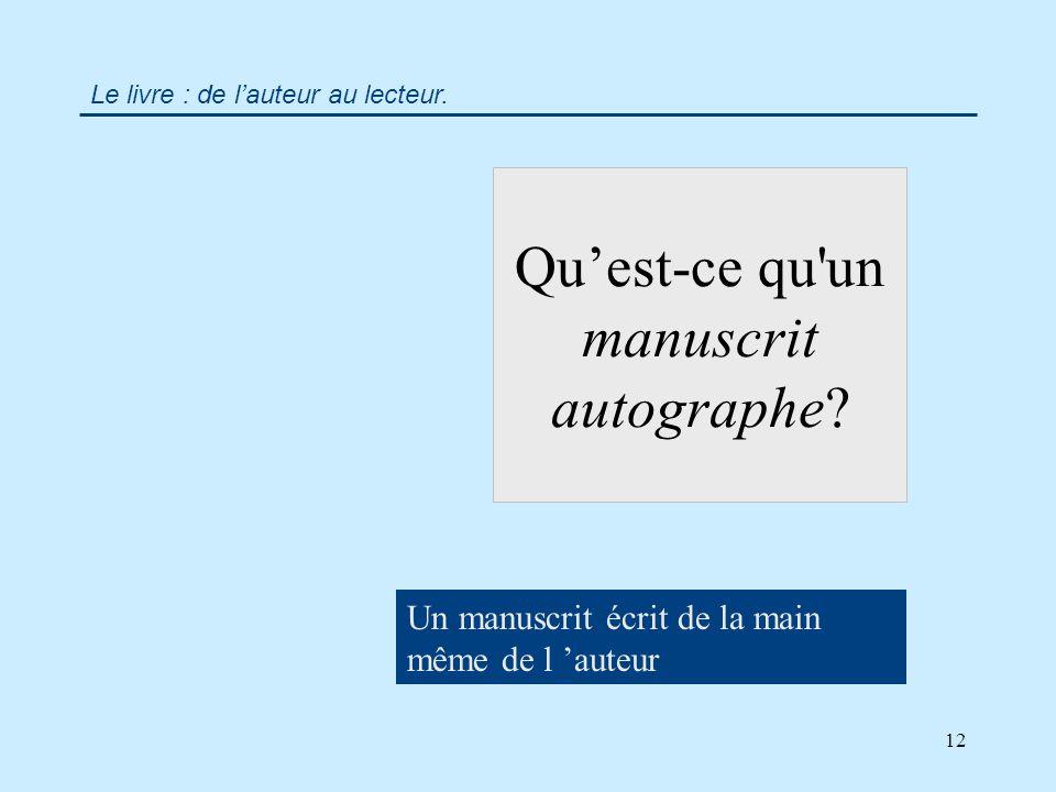 12 Quest-ce qu un manuscrit autographe.