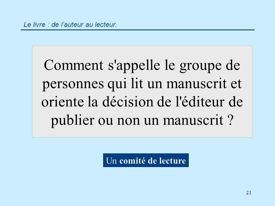21 Comment s appelle le groupe de personnes qui lit un manuscrit et oriente la décision de l éditeur de publier ou non un manuscrit .