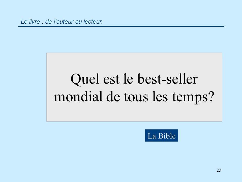 23 Quel est le best-seller mondial de tous les temps La Bible Le livre : de lauteur au lecteur.