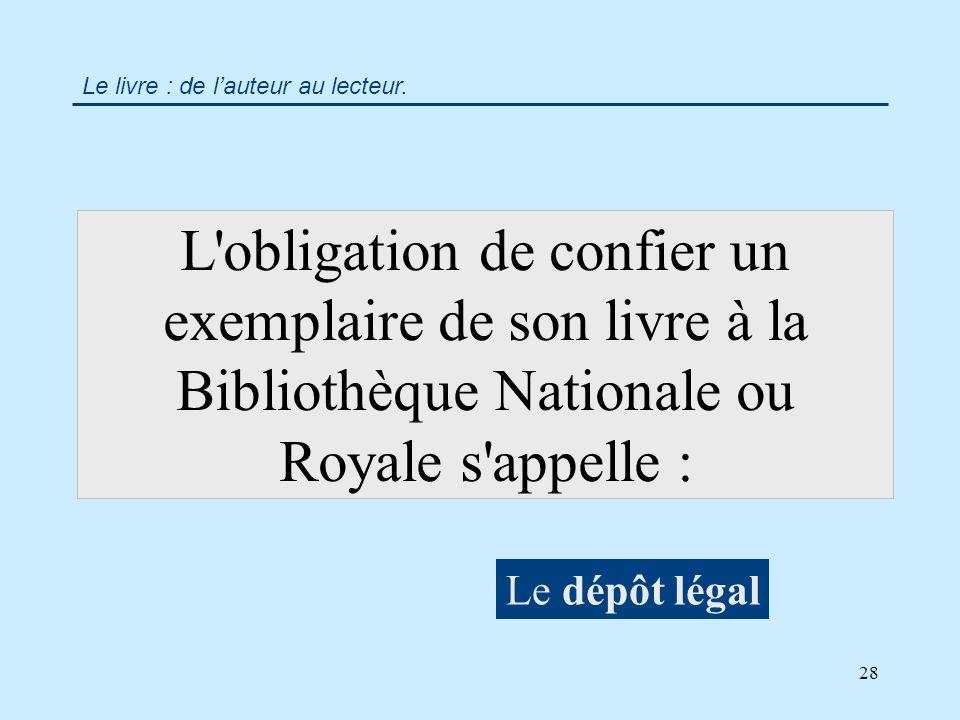28 L obligation de confier un exemplaire de son livre à la Bibliothèque Nationale ou Royale s appelle : Le dépôt légal Le livre : de lauteur au lecteur.
