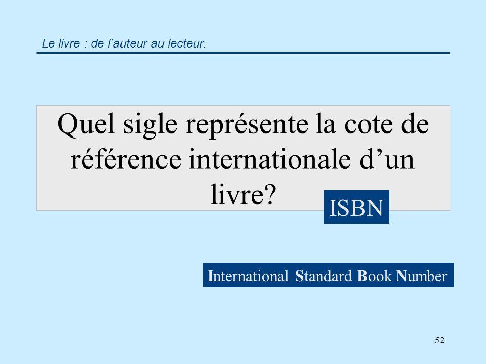 52 Quel sigle représente la cote de référence internationale dun livre.