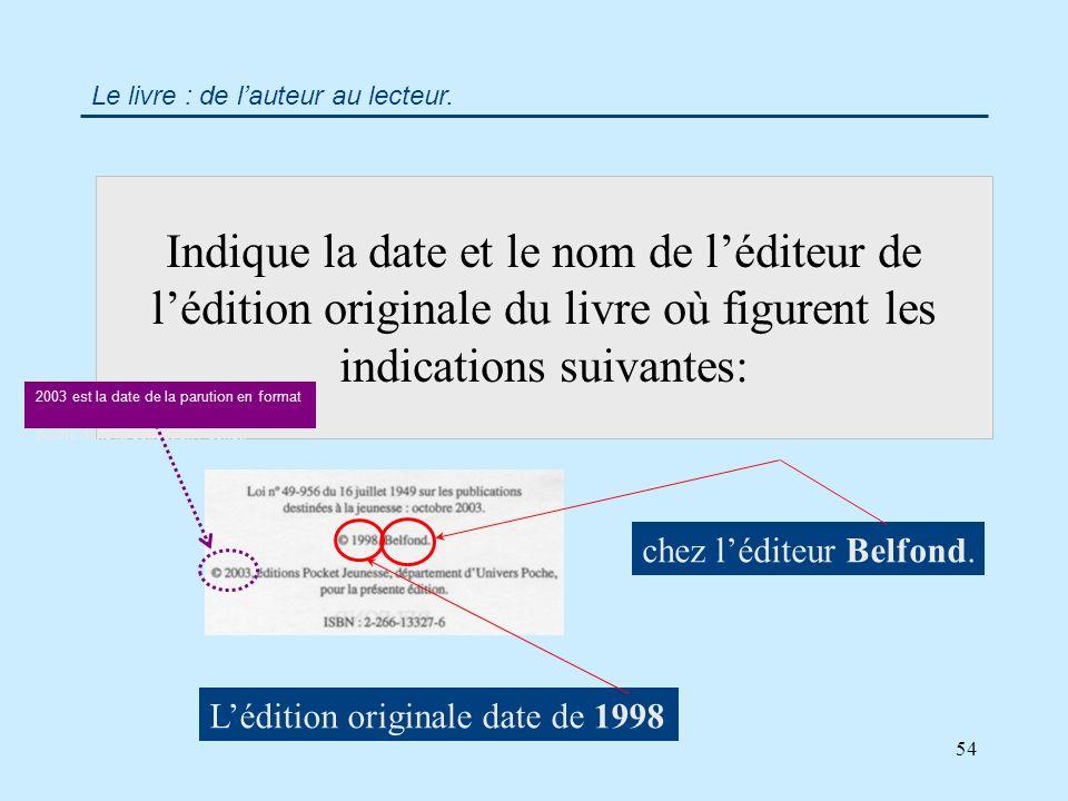 54 Indique la date et le nom de léditeur de lédition originale du livre où figurent les indications suivantes: Le livre : de lauteur au lecteur.