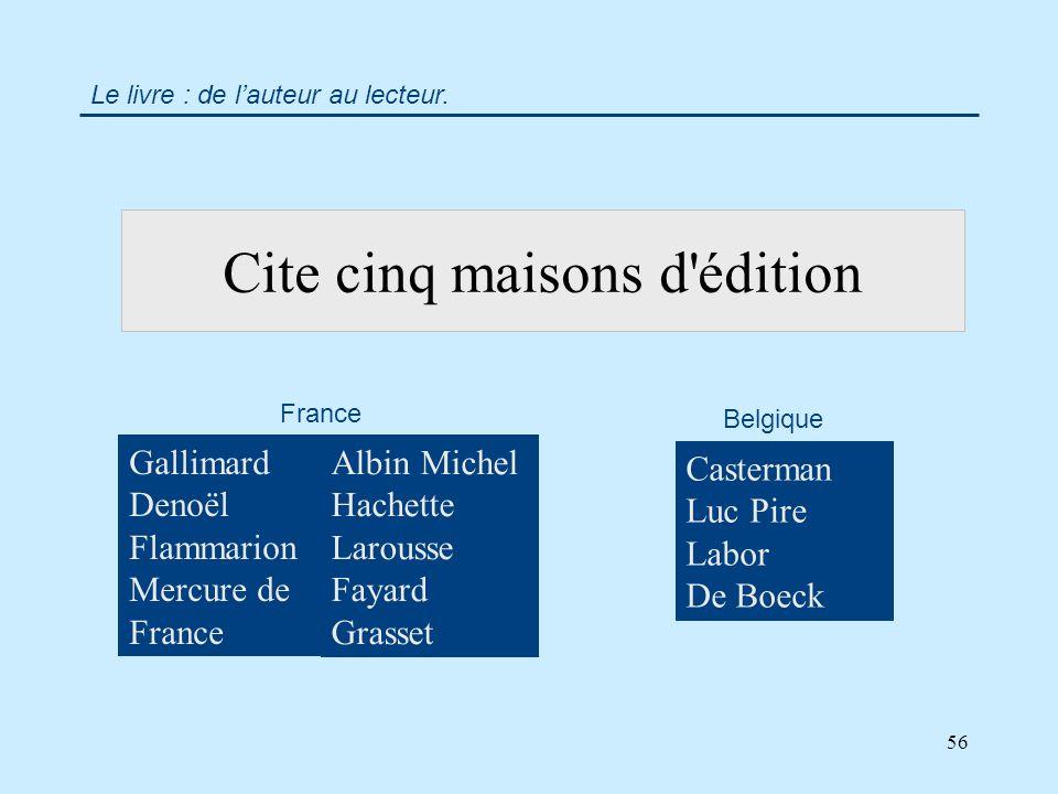 56 Cite cinq maisons d édition Gallimard Denoël Flammarion Mercure de France Casterman Luc Pire Labor De Boeck Le livre : de lauteur au lecteur.