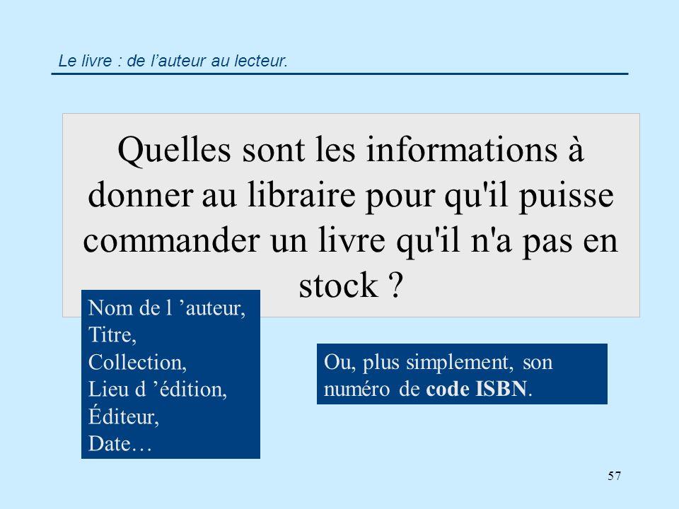 57 Quelles sont les informations à donner au libraire pour qu il puisse commander un livre qu il n a pas en stock .
