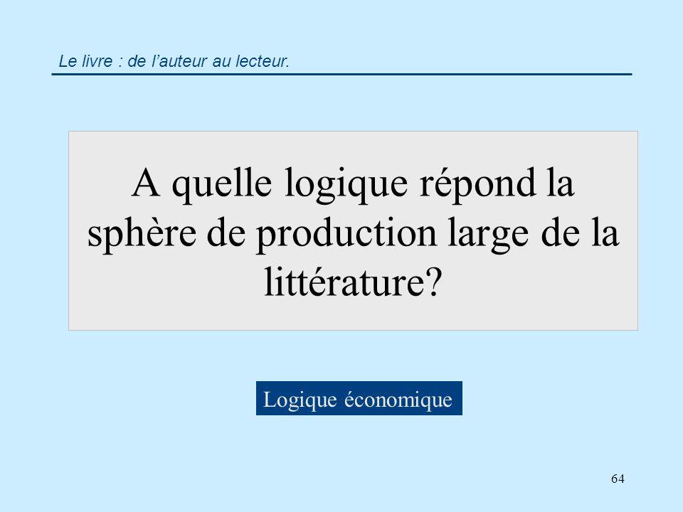 64 A quelle logique répond la sphère de production large de la littérature.
