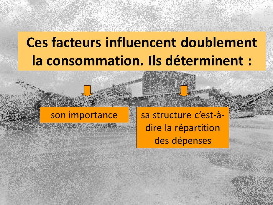 sa structure cest-à- dire la répartition des dépenses Ces facteurs influencent doublement la consommation. Ils déterminent : son importance