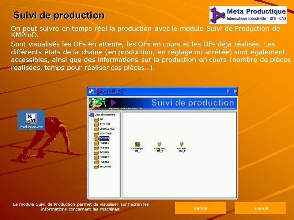 Suivi de production Le module Suivi de Production permet de visualiser sur l écran les informations concernant les machines.