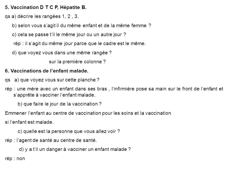 5. Vaccination D T C P, Hépatite B. qs a) décrire les rangées 1, 2, 3. b) selon vous sagit il du même enfant et de la même femme ? c) cela se passe ti