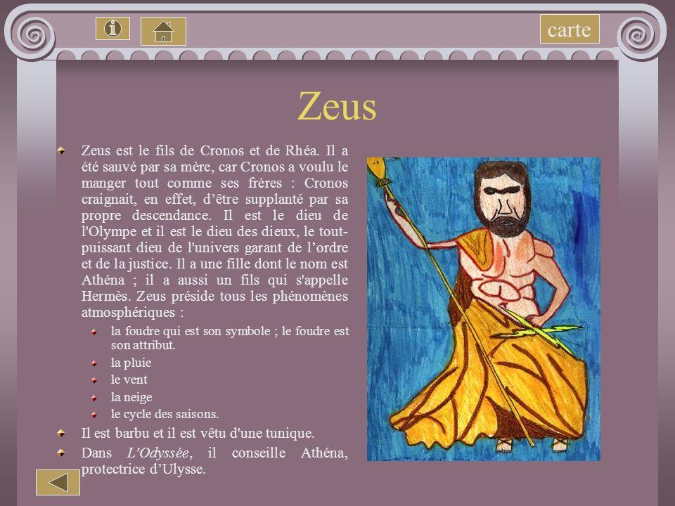 Les dieux Zeus Athéna Hadès Hermès Poséidon carte