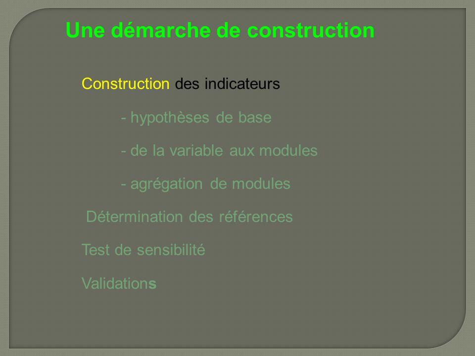 Une démarche de construction Construction des indicateurs - hypothèses de base - de la variable aux modules - agrégation de modules Détermination des références Test de sensibilité Validations