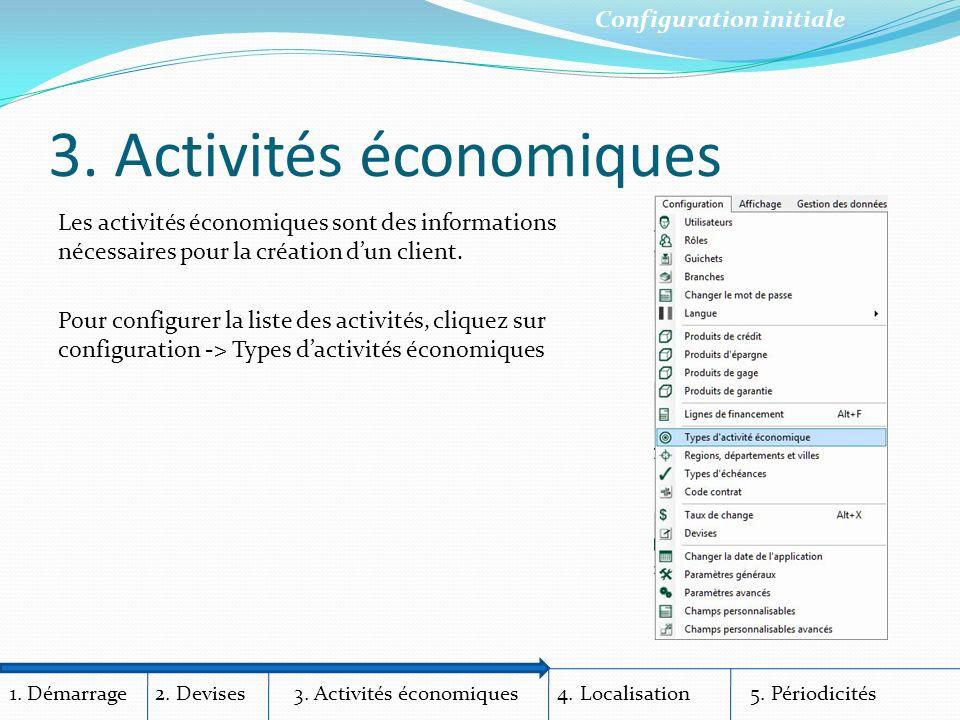 1. Démarrage 2. Devises 3. Activités économiques 4.