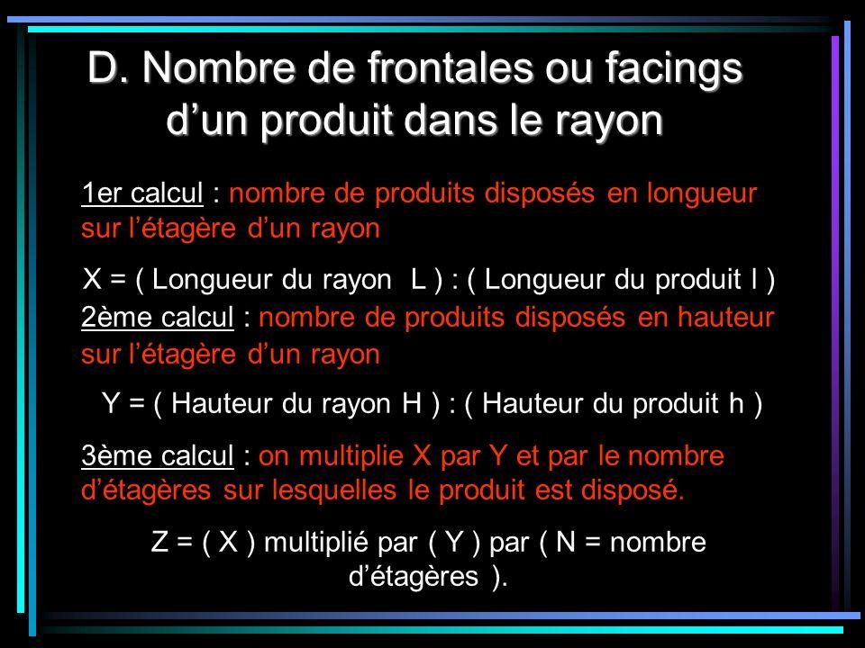 D. Nombre de frontales ou facings dun produit dans le rayon 1er calcul : nombre de produits disposés en longueur sur létagère dun rayon X = ( Longueur