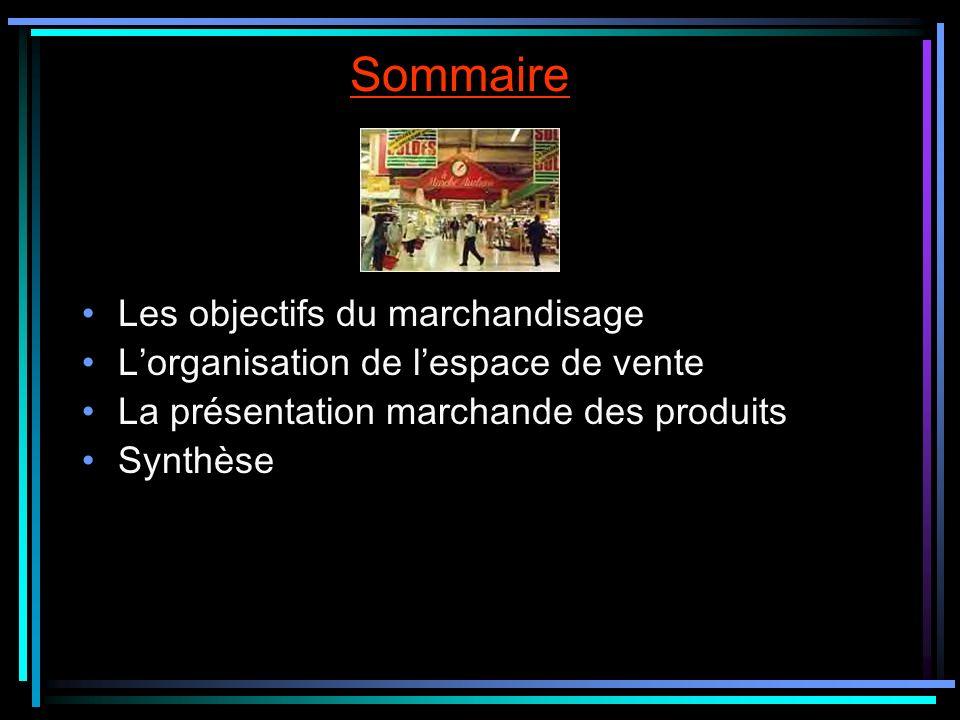 Sommaire Les objectifs du marchandisage Lorganisation de lespace de vente La présentation marchande des produits Synthèse