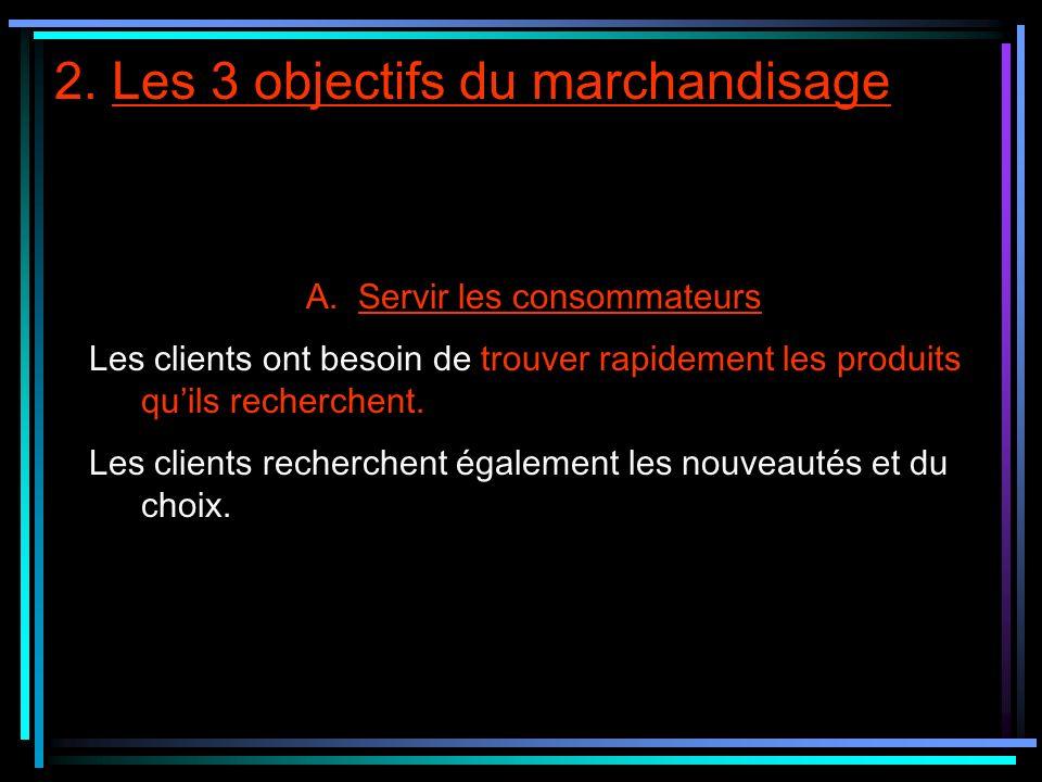 2. Les 3 objectifs du marchandisage A.Servir les consommateurs Les clients ont besoin de trouver rapidement les produits quils recherchent. Les client