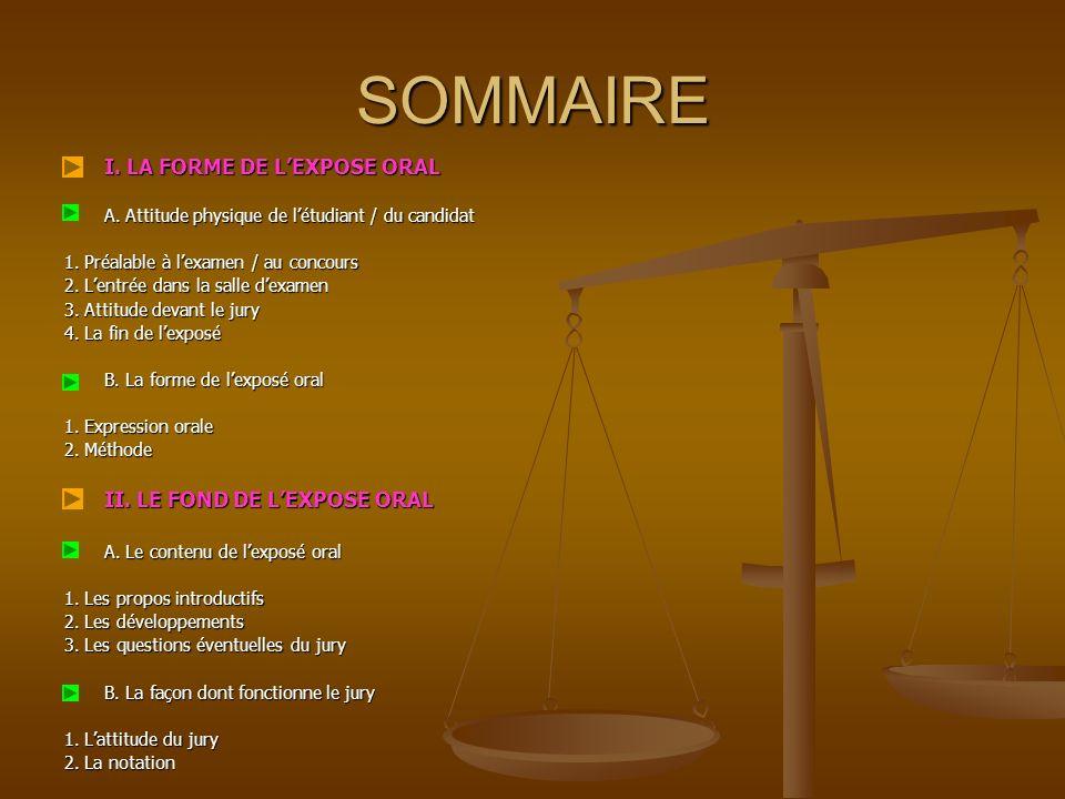 SOMMAIRE I.LA FORME DE LEXPOSE ORAL A. Attitude physique de létudiant / du candidat 1.