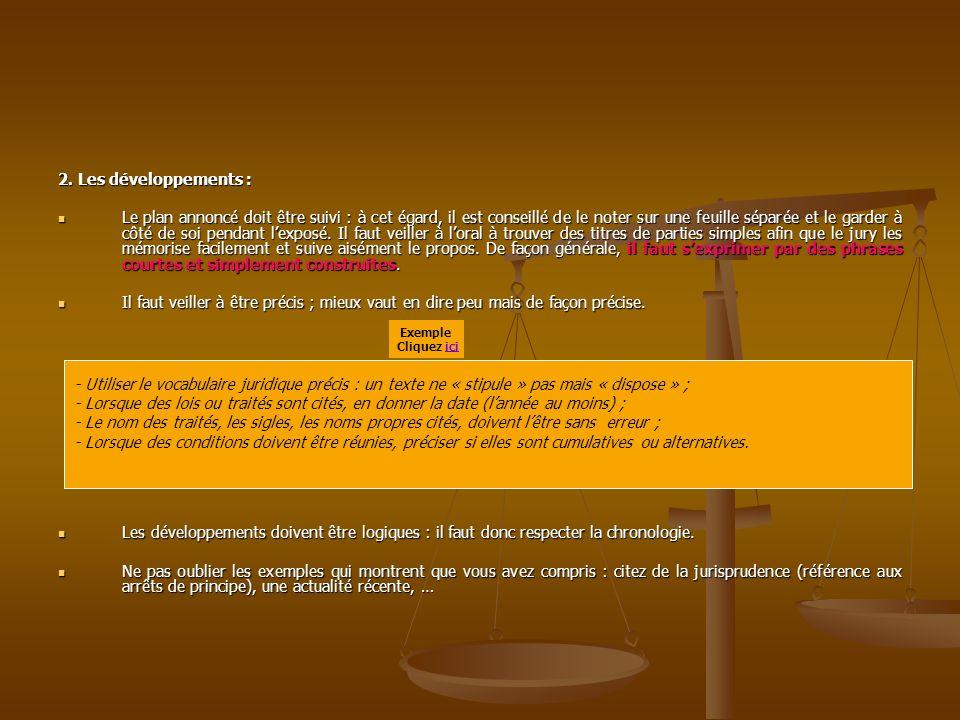 II.LE FOND DE LEXPOSE ORAL A Le contenu de lexposé oral 1.