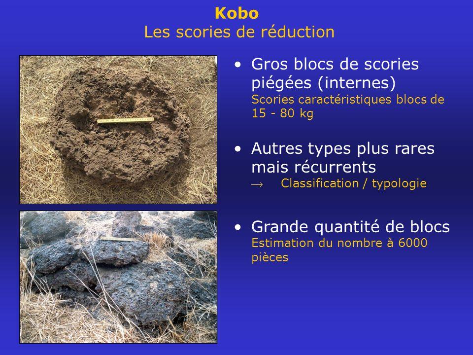 Kobo Les scories de réduction Gros blocs de scories piégées (internes) Scories caractéristiques blocs de 15 - 80 kg Autres types plus rares mais récur