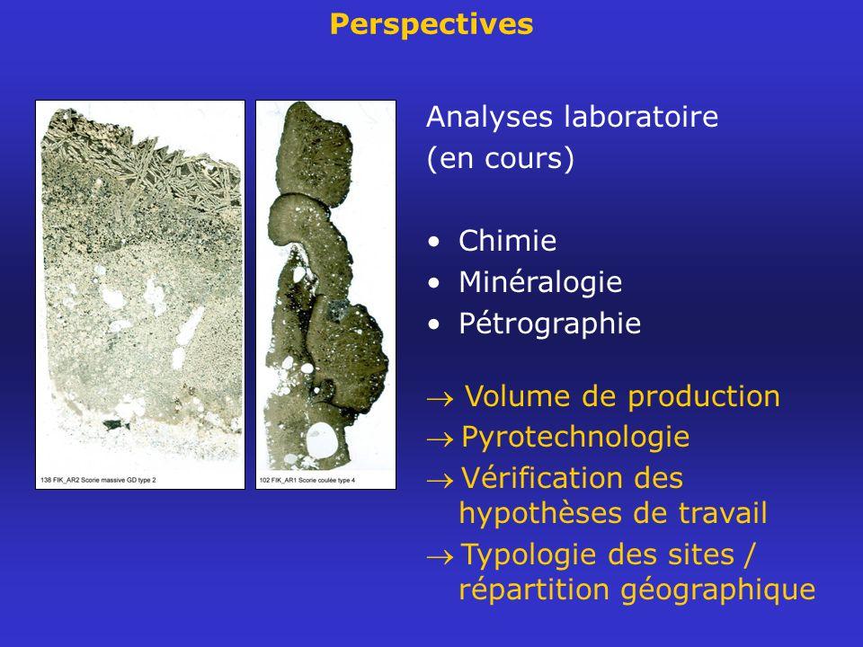 Perspectives Analyses laboratoire (en cours) Chimie Minéralogie Pétrographie Volume de production Pyrotechnologie Vérification des hypothèses de trava