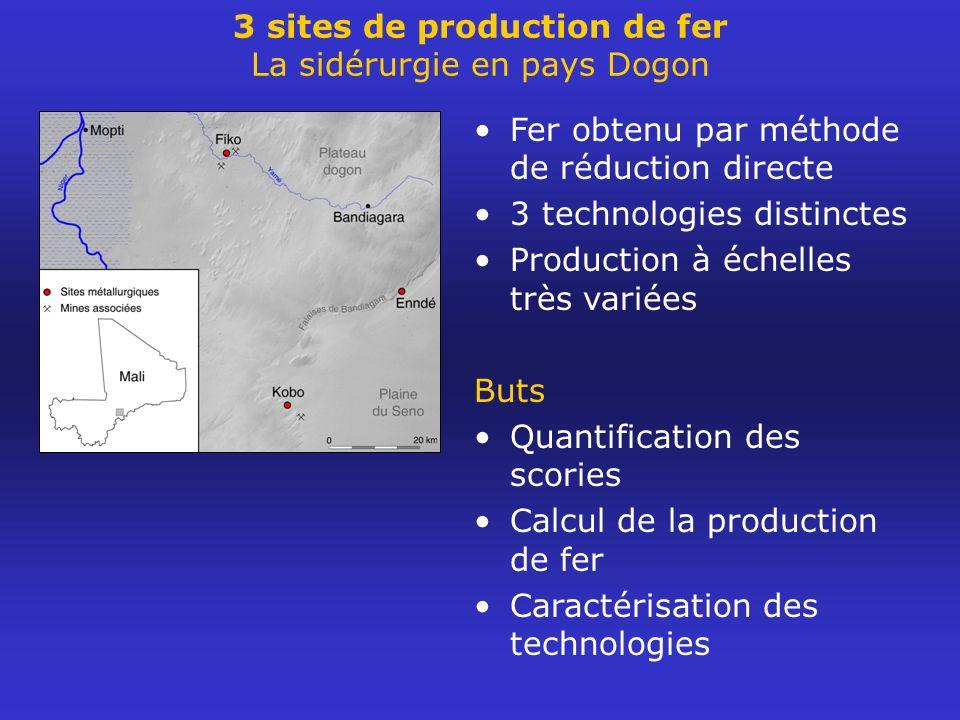 3 sites de production de fer La sidérurgie en pays Dogon Fer obtenu par méthode de réduction directe 3 technologies distinctes Production à échelles t