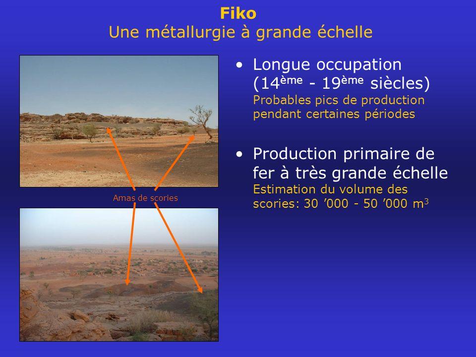 Fiko Une métallurgie à grande échelle Longue occupation (14 ème - 19 ème siècles) Probables pics de production pendant certaines périodes Production p
