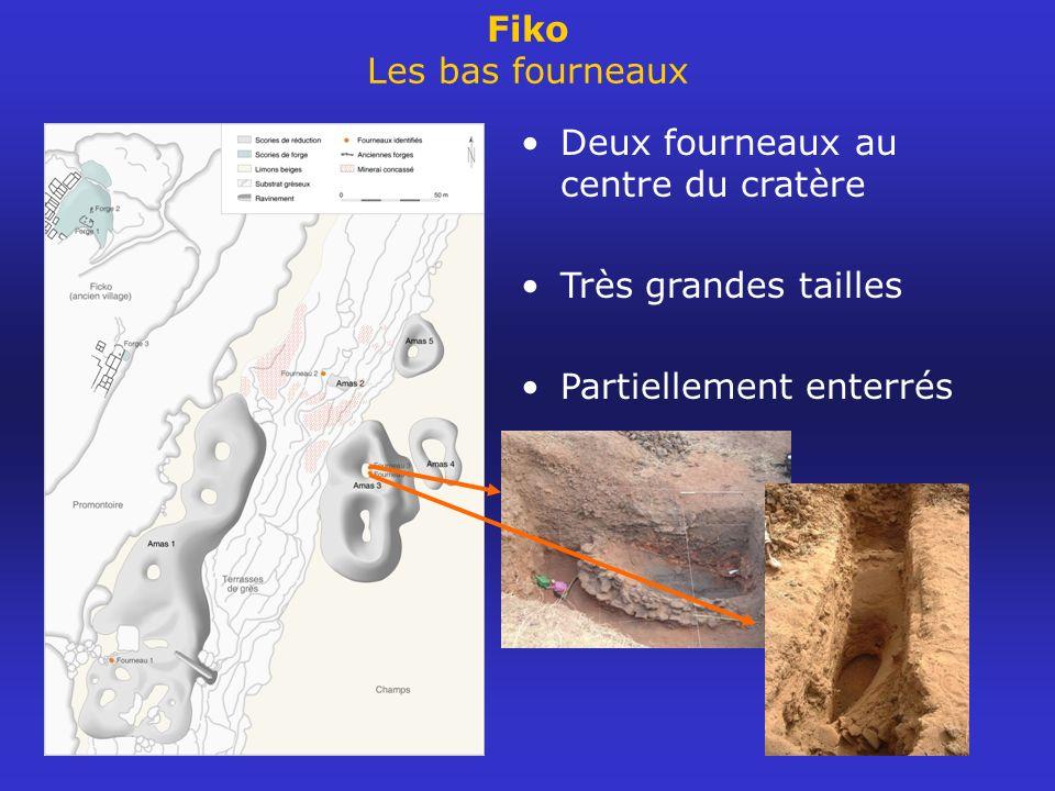 Deux fourneaux au centre du cratère Très grandes tailles Partiellement enterrés Fiko Les bas fourneaux