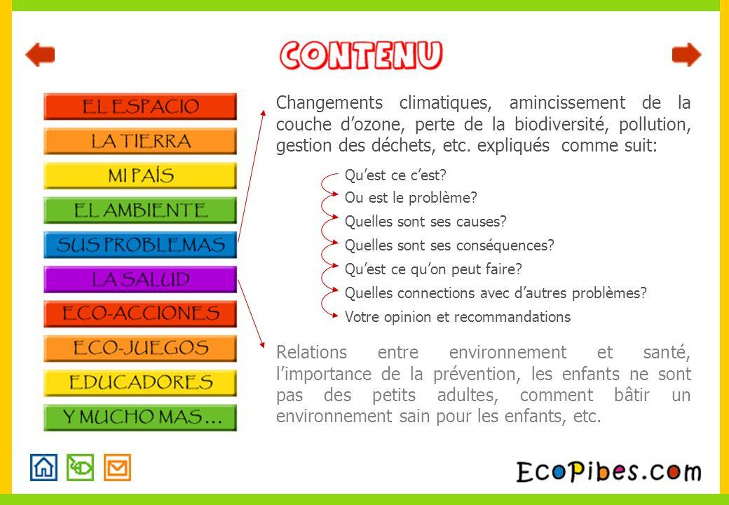 Changements climatiques, amincissement de la couche dozone, perte de la biodiversité, pollution, gestion des déchets, etc.