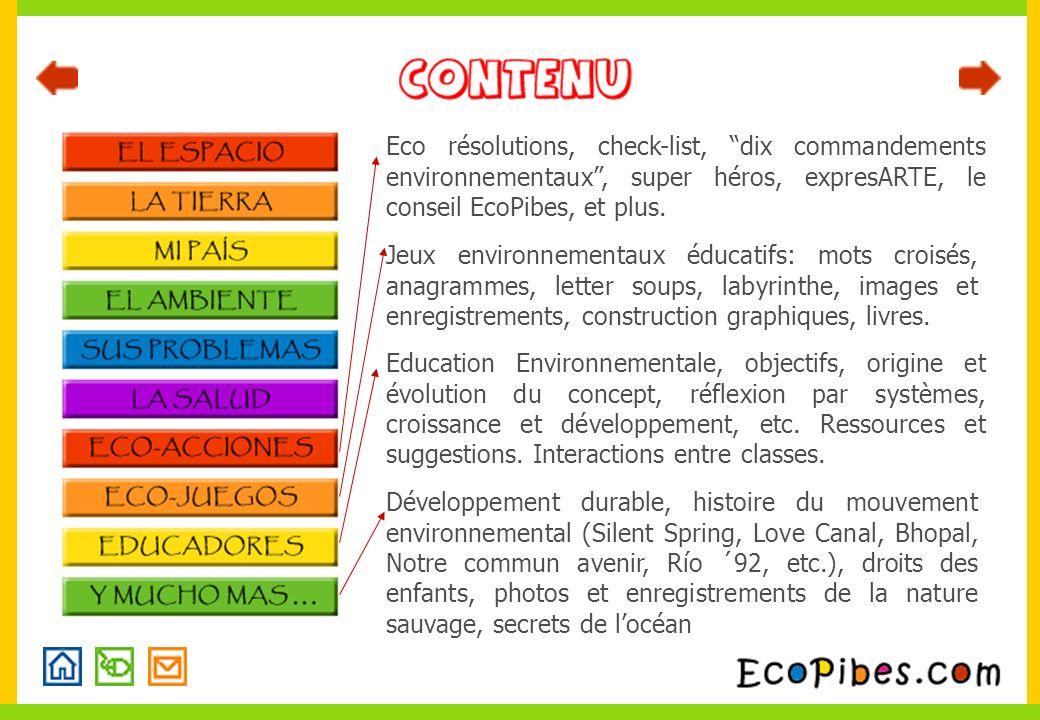 Eco résolutions, check-list, dix commandements environnementaux, super héros, expresARTE, le conseil EcoPibes, et plus. Education Environnementale, ob