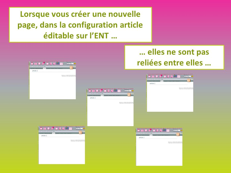 Lorsque vous créer une nouvelle page, dans la configuration article éditable sur lENT … … elles ne sont pas reliées entre elles …