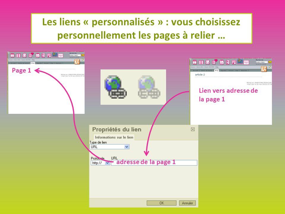 Les liens « personnalisés » : vous choisissez personnellement les pages à relier … Lien vers adresse de la page 1 Page 1 adresse de la page 1